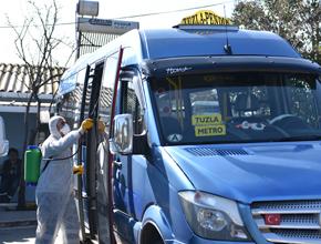 Toplu taşıma araçları ve duraklara dezenfekte