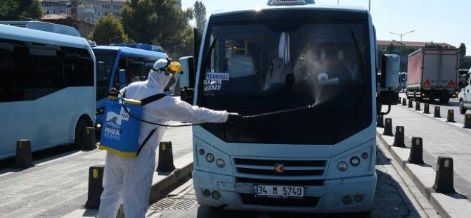 Gebze-Harem minibüslerine Pendik Belediyesi'nden dezenfektan ünitesi