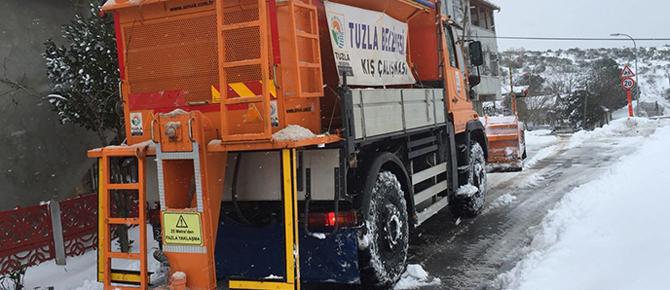 Tuzla'da 24 saat aralıksız kar mesaisi! Son yılların en yoğunu!
