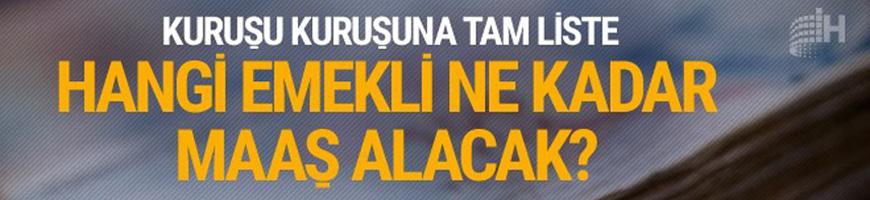 Temmuz 2017 zamlı emekli maaşları SSK-Bağkur tam listesi