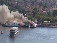 Haliç'te deniz taksilerde yangın