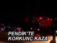 Pendik'te iki otomobil kafa kafaya çarpıştı! 6 yaralı var