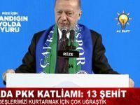 """Başkan Erdoğan, """"Teröristler alçak bir katliam yaptı"""""""