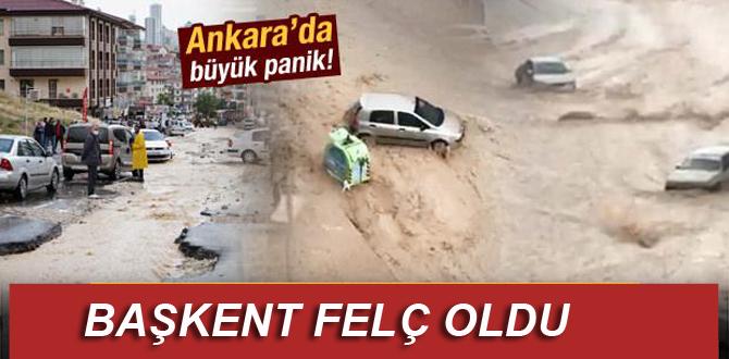 Sağnak yağış Ankara'yı felç etti!