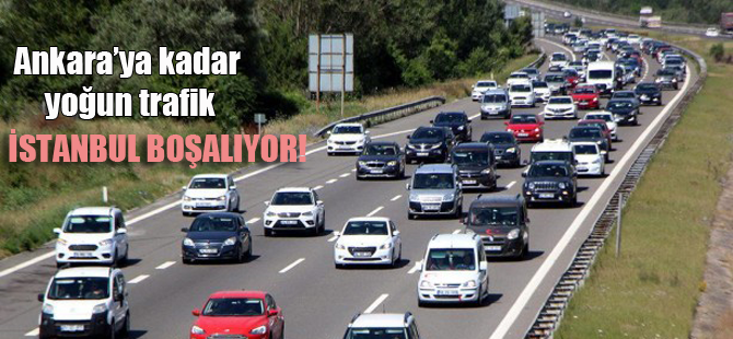 İstanbul boşalıyor! Trafik kilitlendi